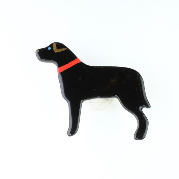Handmade Black Ceramic Dog Brooch.
