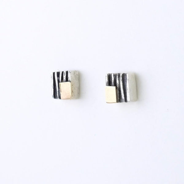 Textured Silver and Gold Stud Earrings by Adele Taylor.