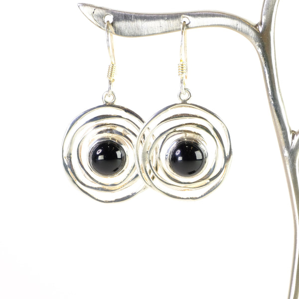 Silver and Black Onyx Drop Earrings.