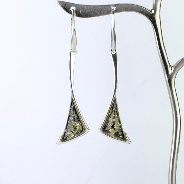 Green Amber and Silver Drop Earrings.