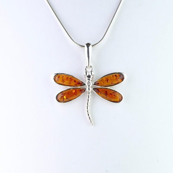 Silver and Amber Dragonfly Design Pendant.