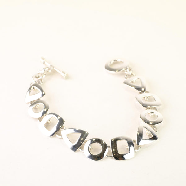 Mixed Shape Sterling Silver Bracelet.