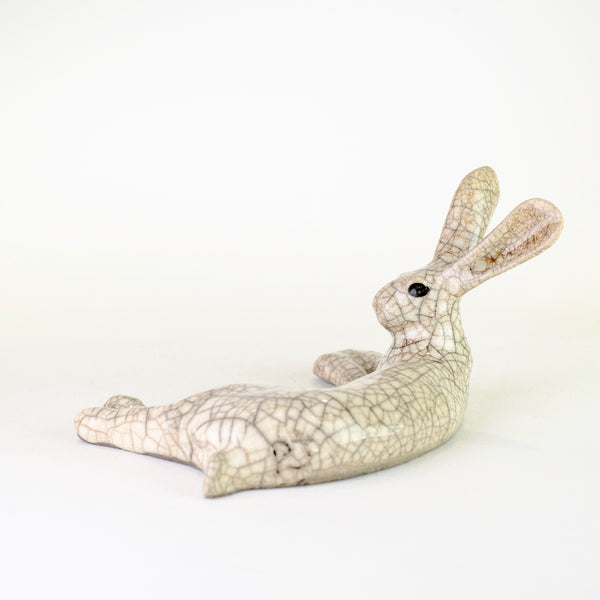 Small Raku Ceramic Lying Hare by Paul Jenkins