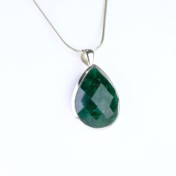 Large Emerald Quartz and Silver Pendant.