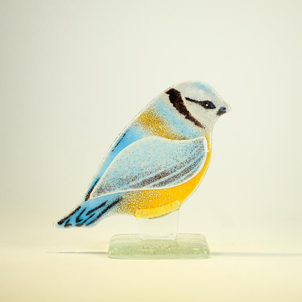 Fused Glass Blue Tit.