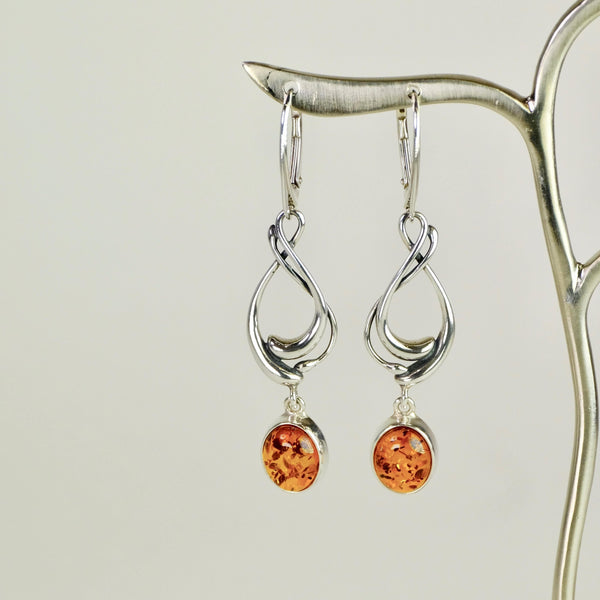 Amber and Silver Earrings.