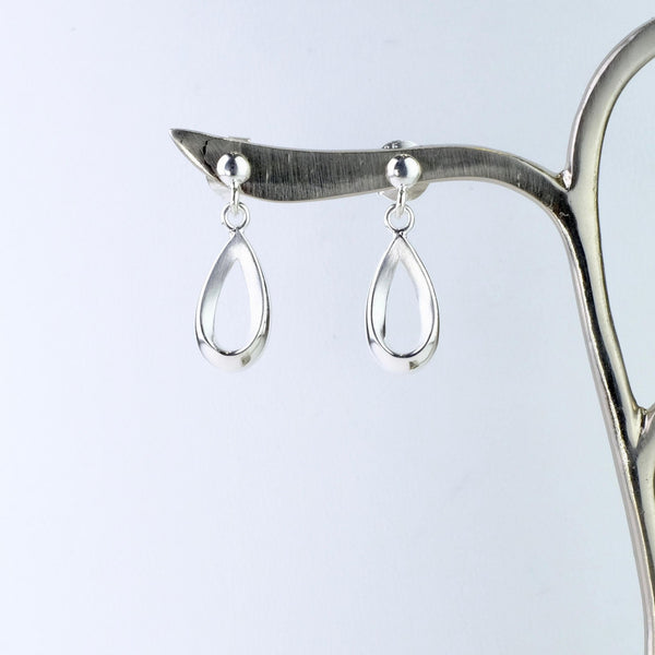 Satin and Shiny Silver Drop Earrings by JB Designs.