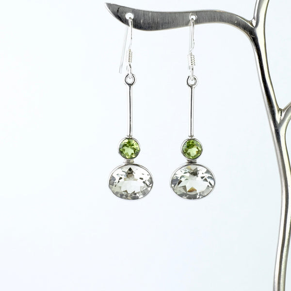 Green Amethyst, Peridot and Silver Drop Earrings.