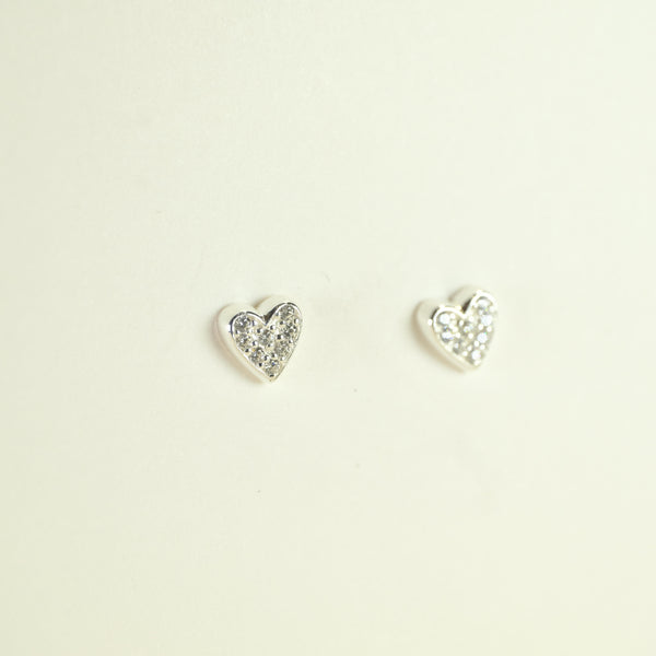 Silver and Cz Heart Stud Earrings by JB Designs.