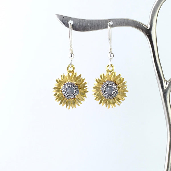 Handmade Silver Sunflower Earrings by Sheena Mcmaster.
