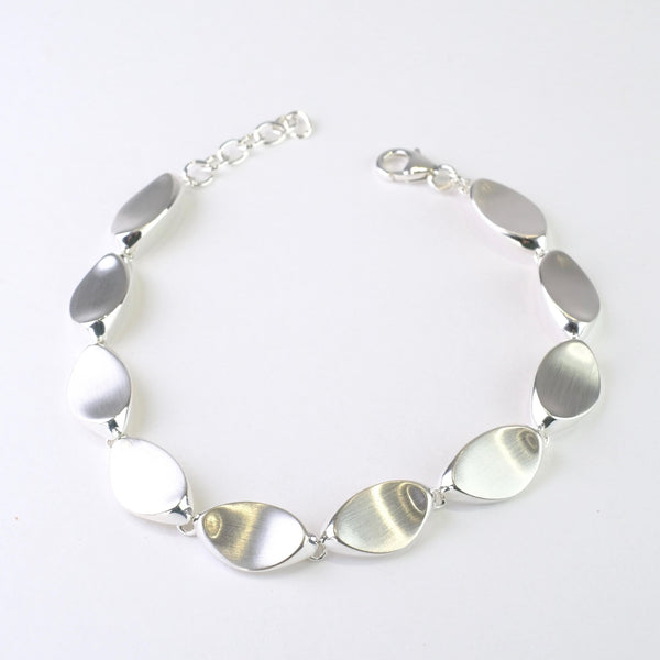 Satin Silver Linked Bracelet.