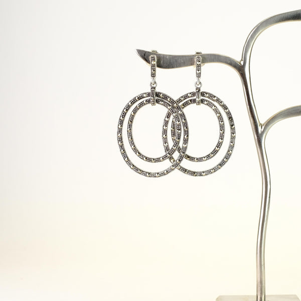 Marcasite and Silver Circle Drop Earrings.
