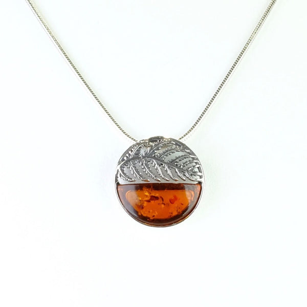 Round Fern Design Amber and Silver Pendant.
