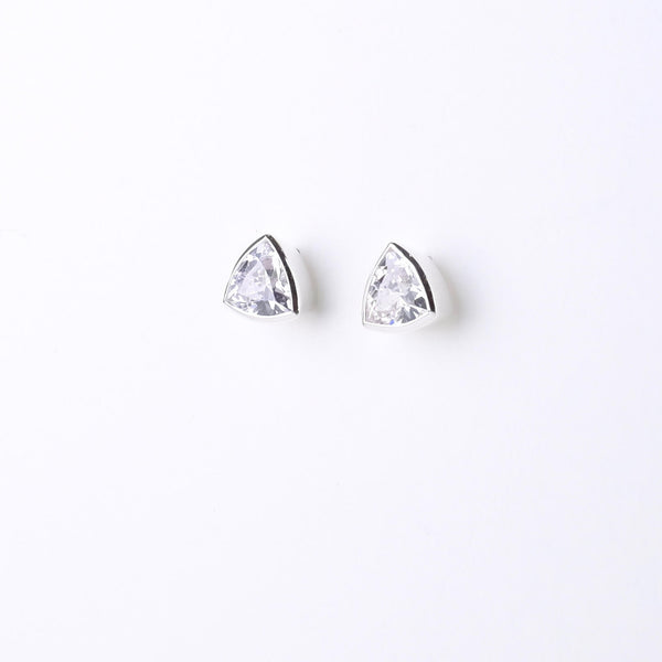 Silver and Cz Triangular Stud Earrings by JB Designs.