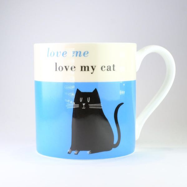 'Love Me, Love my Cat' Blue Bone China Mug.