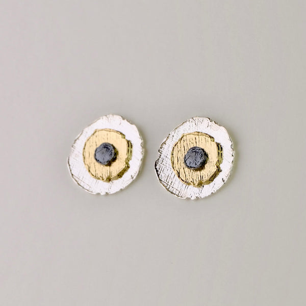 Satin Silver and Gold Plated Stud Earrings by JB Designs.