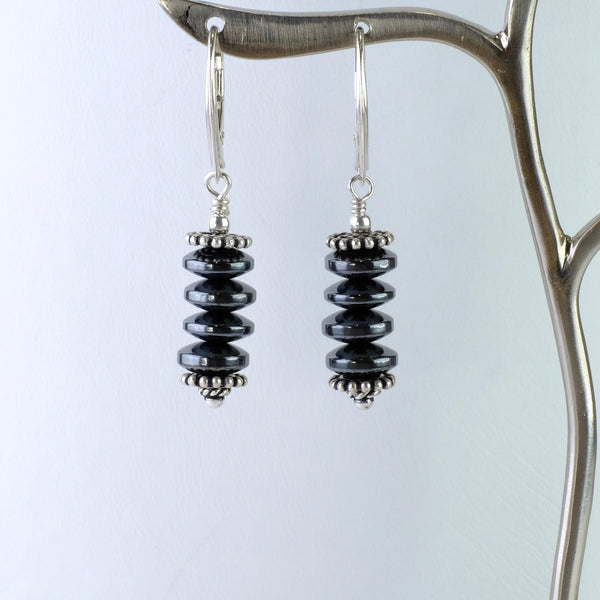 Polished Hematite and Silver Beaded Earrings.