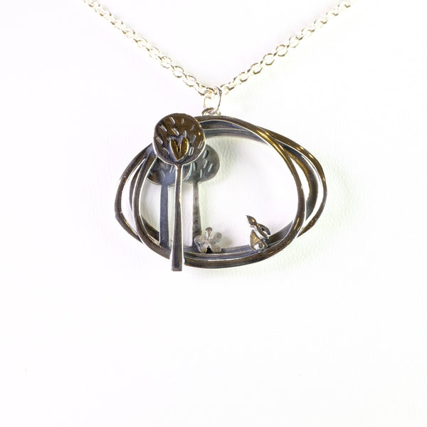 Linda Macdonald Handmade Silver 'In to the Woods Hare' Pendant.