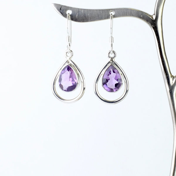 Silver and Faceted Amethyst Drop Earrings.
