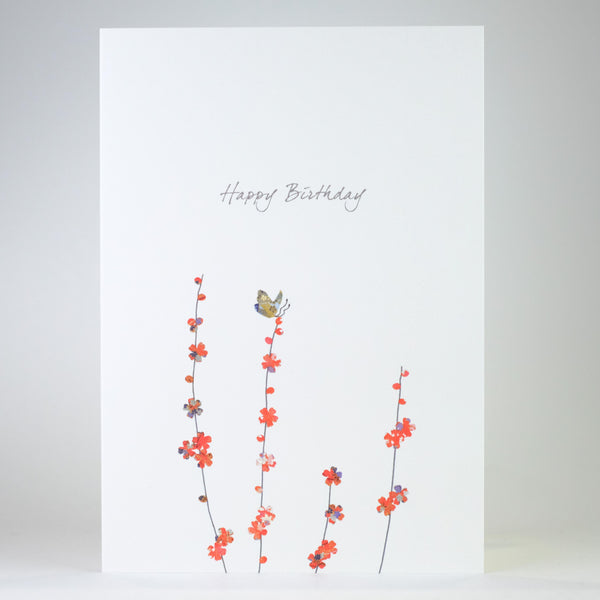 Butterfly on Blossom Birthday Card.
