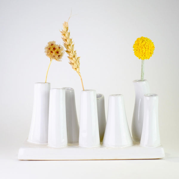 Ceramic White 'Chimney Vase'