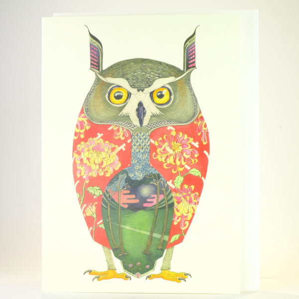 'Long Eared Owl' Blank Greetings Card.