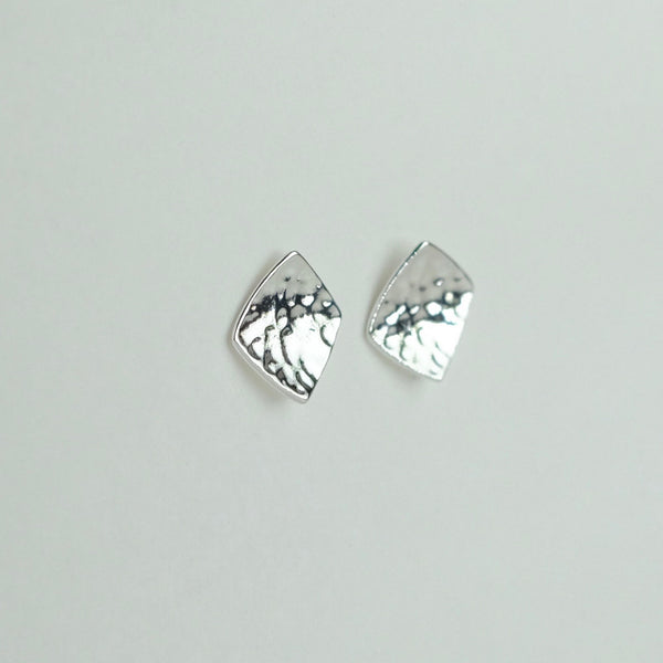 Square Hammered Silver Stud Earrings by JB Designs.