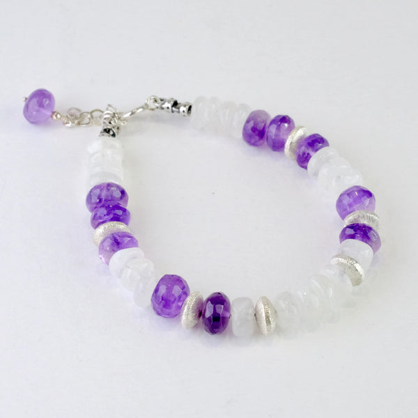 Amethyst, Moonstone and Silver Beaded Bracelet.