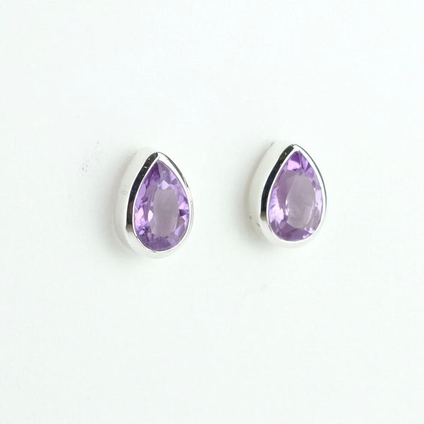 Silver and Amethyst Tear Drop Stud Earrings.