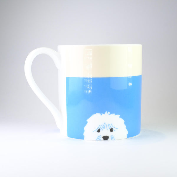 'Love Me, Love my Dog' Blue Bone China Mug.