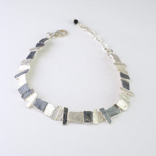 Satin and Oxidised Silver Linked Bracelet by JB Designs.