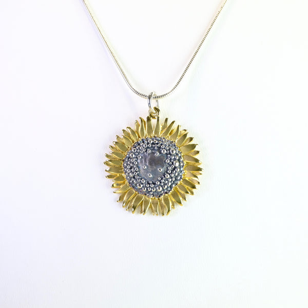Handmade Large Silver Sunflower Pendant by Sheena McMaster.