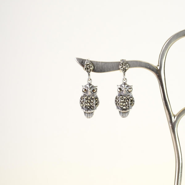 Marcasite and Silver Owl Drop Earrings.