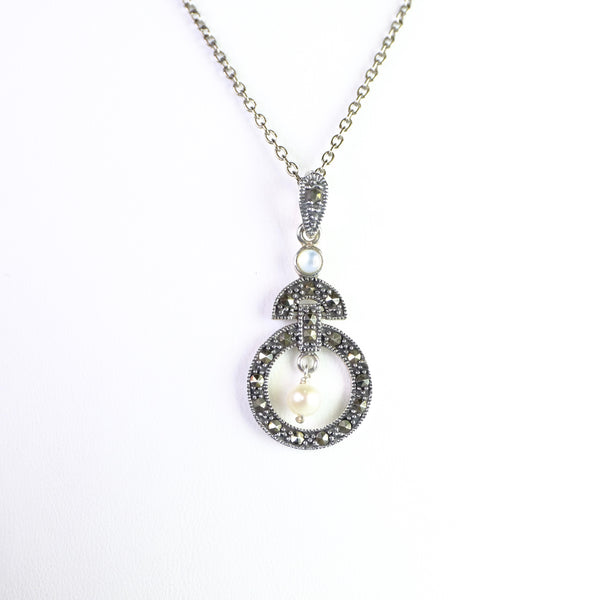 Marcasite and Silver Art Deco Style Pendant with Pearl.