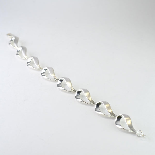 Matt and Polished Silver Linked Bracelet by JB Designs.