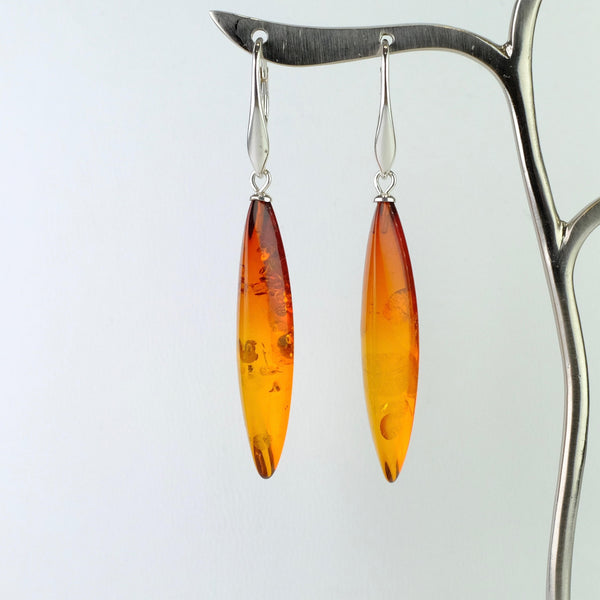 Long Amber and Silver Drop Earrings.