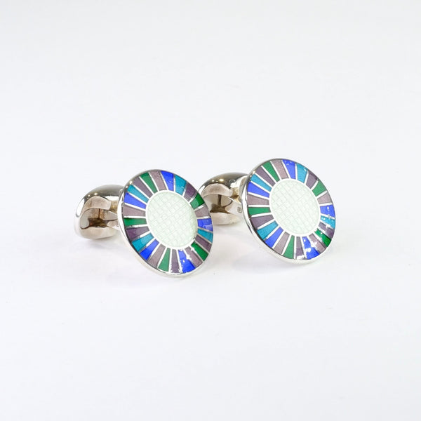 Sterling Silver and Enamel Cufflinks.