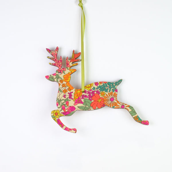 Small Hanging Floral Reindeer Christmas Decoration.