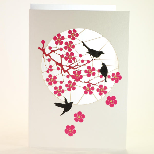 'Pink Blossom and Blackbirds' Laser Cut Blank Card