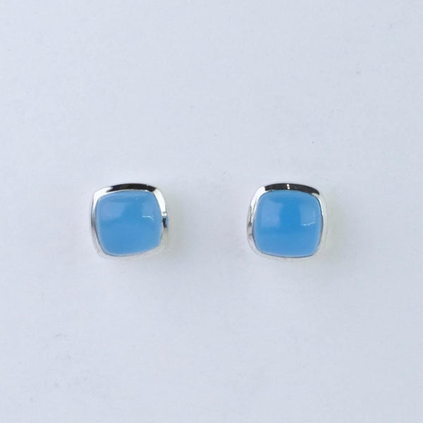 Square Chalcedony and Silver Stud Earrings.