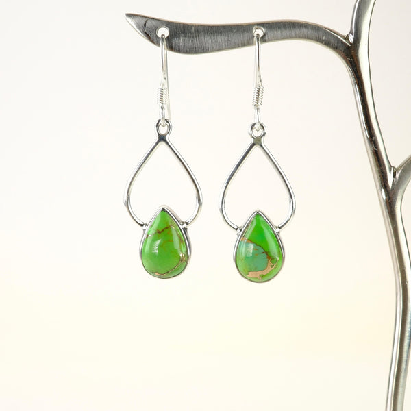 Silver and Green Mojave Turquoise Drop Earrings.