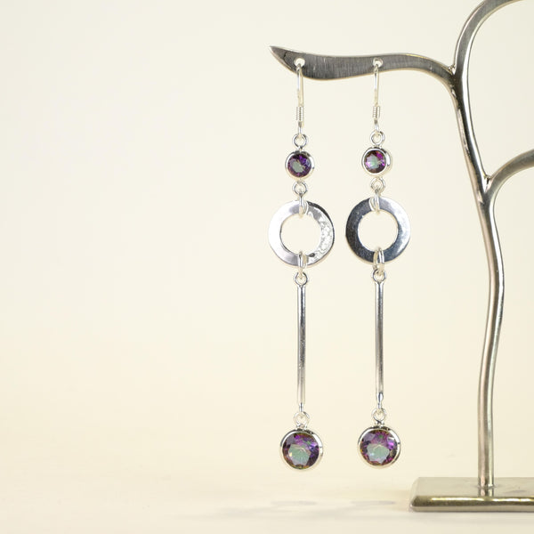 Long Silver and Mystic Quartz Drop Earrings.