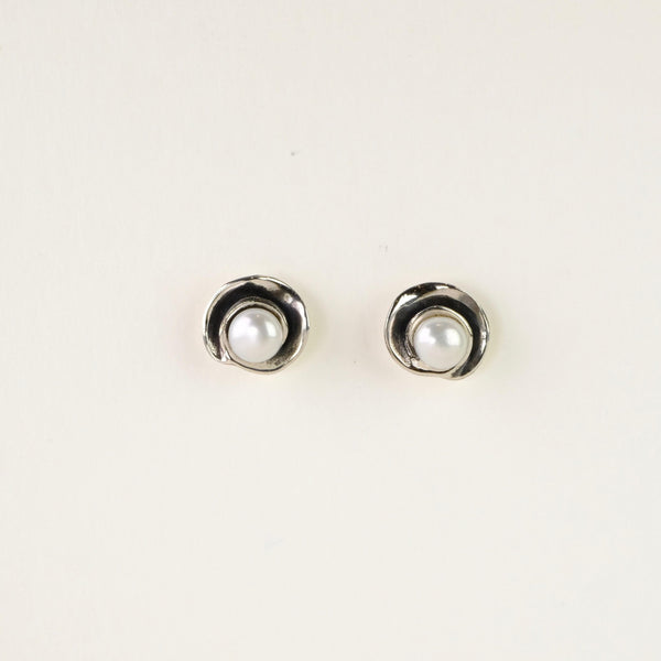 Silver and Pearl Spiral Stud Earrings.