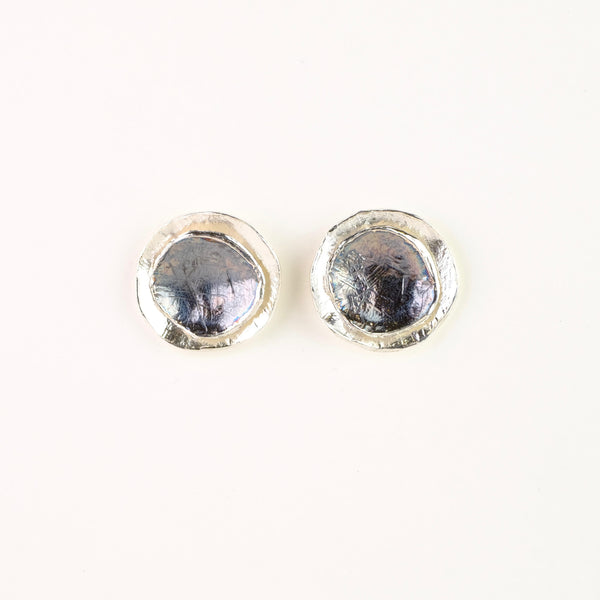Satin and Oxidised Silver Stud Earrings by JB Designs.