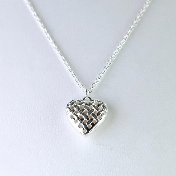 Lattice Silver Heart Shaped Pendant by 'Unique'