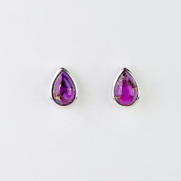 Purple Mojave Turquoise and Silver Stud Earrings.