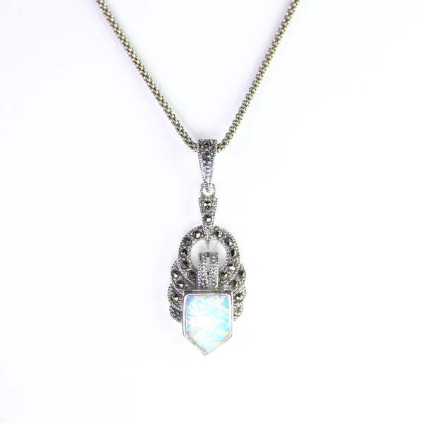 Silver, Opal and Marcasite Pendant.