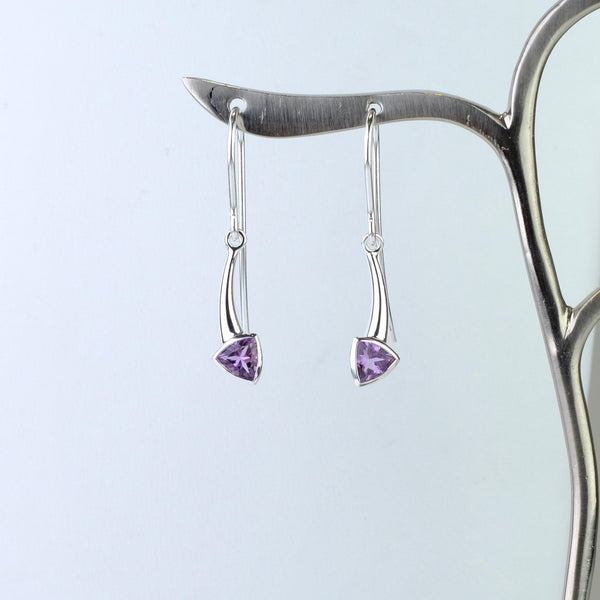 Silver and Amethyst 'Trillion' Earrings by JB Designs.