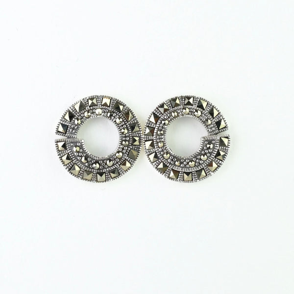 Marcasite and Silver Art Deco Style Round Stud Earrings.