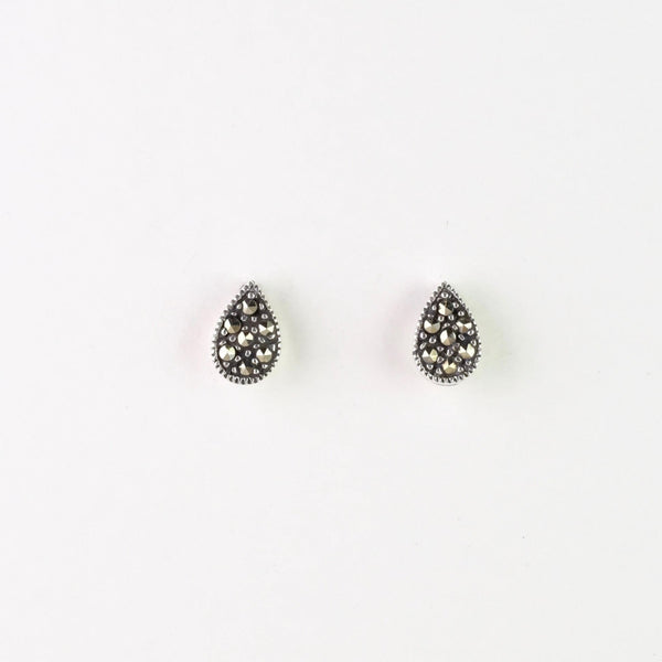 Marcasite and Silver Tear Drop Stud Earrings.